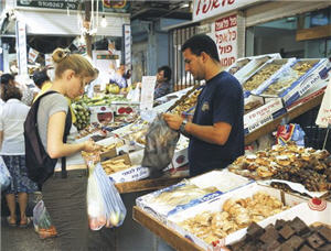 На восточном базаре Кармель, Израиль.